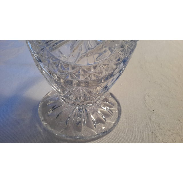 Transparent Simply Beautiful Etched Bird Motif Clear Cut Glass Footed Pitcher For Sale - Image 8 of 12