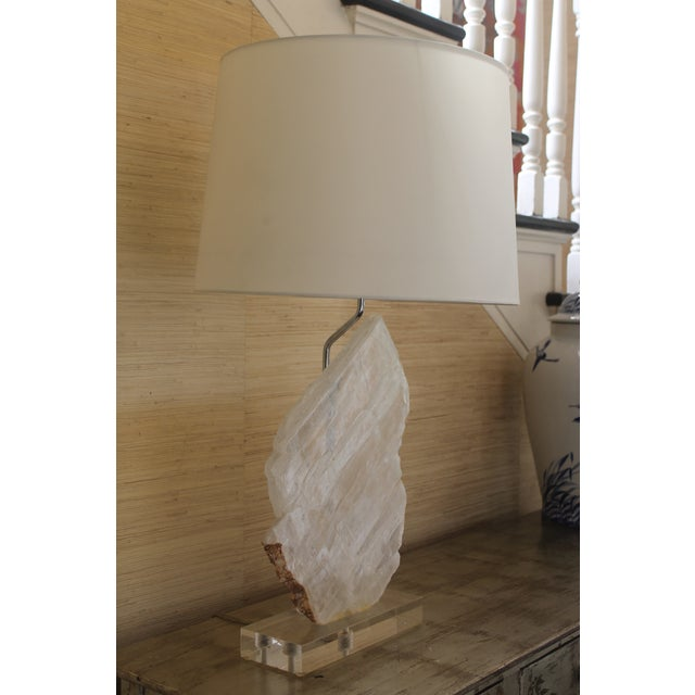 Selenite Stone Lamp With Shade For Sale - Image 4 of 11