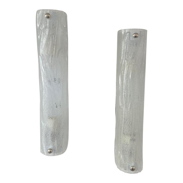 Vintage Modern Ice Glass Sconces - a Pair For Sale