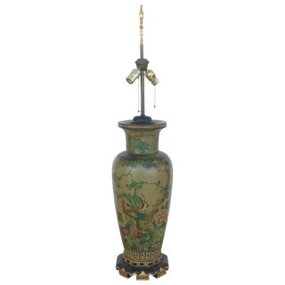 """19th Century Italian """"Famille Rose"""" Polychrome Wood Vase Now Mounted as Lamp For Sale"""