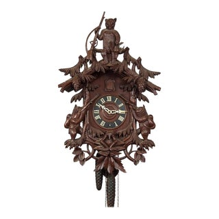Black Forest Carved Wood Cuckoo Clock With Bears For Sale