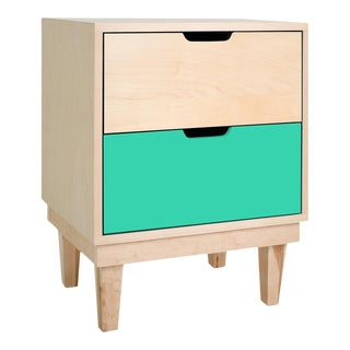 Kabano Modern Kids 2-Drawer Nightstand in Maple With Mint Finish For Sale