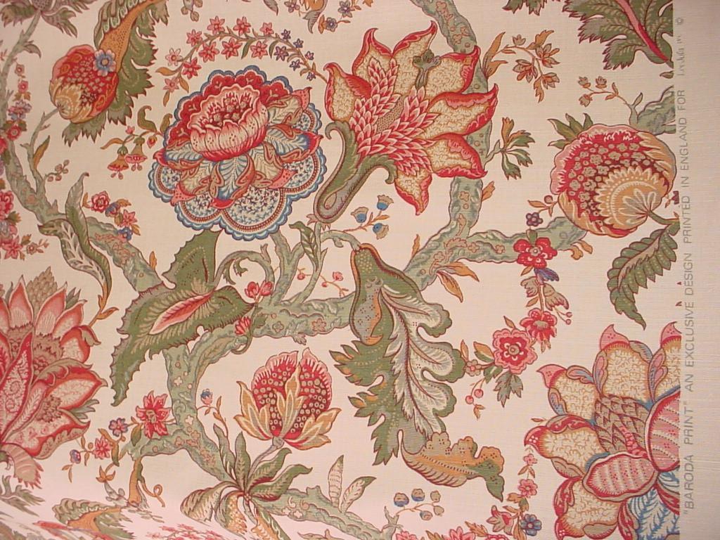 Lee Jofa Groundworks KIMONO PRINT  Cotton Chinoiserie Fabric 1 yard Retail 199 dollars