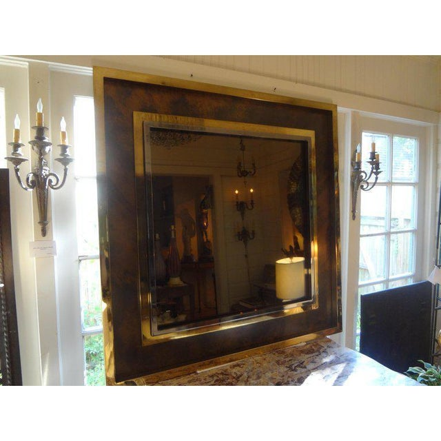 Maison Baguès Italian Romeo Rega Style Mid-Century Modern Square Mirror For Sale - Image 4 of 10