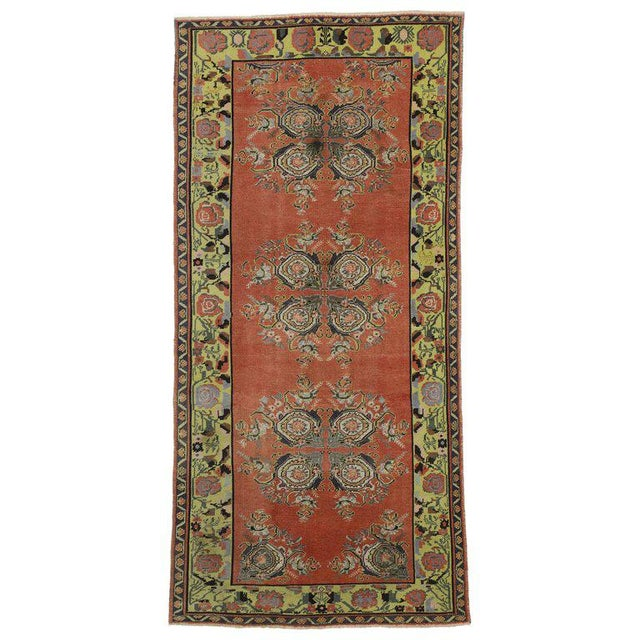 Green Vintage Turkish Oushak Gallery Rug Runner - 4'6 X 9'6 For Sale - Image 8 of 8