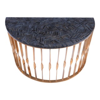 Contemporary Blue Tiger Eye Side Table For Sale
