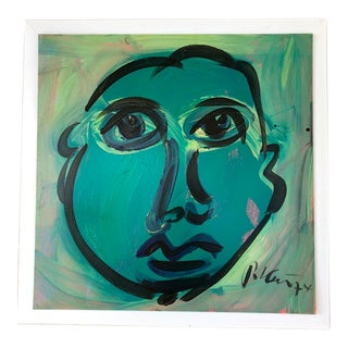 Vintage Peter Robert Keil Blue Period 1974 Signed Expressionist Portrait Painting With Certificate of Authenticity For Sale