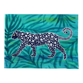 Chinoiserie Leopard Tropical Painting by Cleo Plowden For Sale