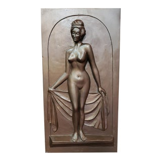 1930 Art Deco Nude Woman Raised Relief Bronzed Chalkware Wall-Hanging Sculpture For Sale
