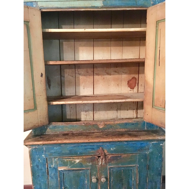 Mid 19th Century Mid 19th Century Antique Blue Step Back Cupboard For Sale - Image 5 of 9