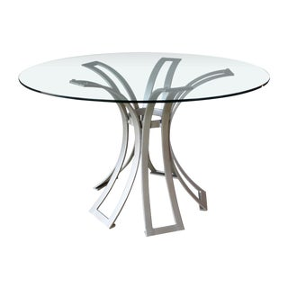 Selamat Designs Klismos Silver Finish Wrought Iron Dining Table