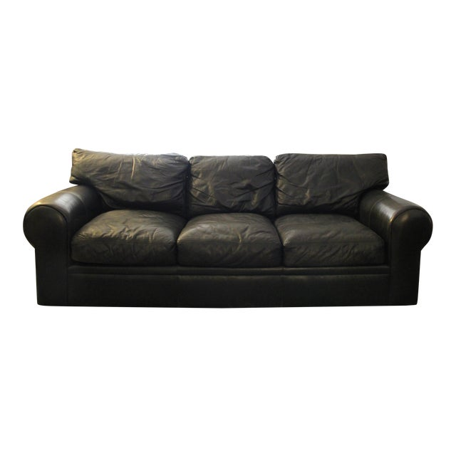 Maurice Villency Down Filled Black Leather Sofa For Sale