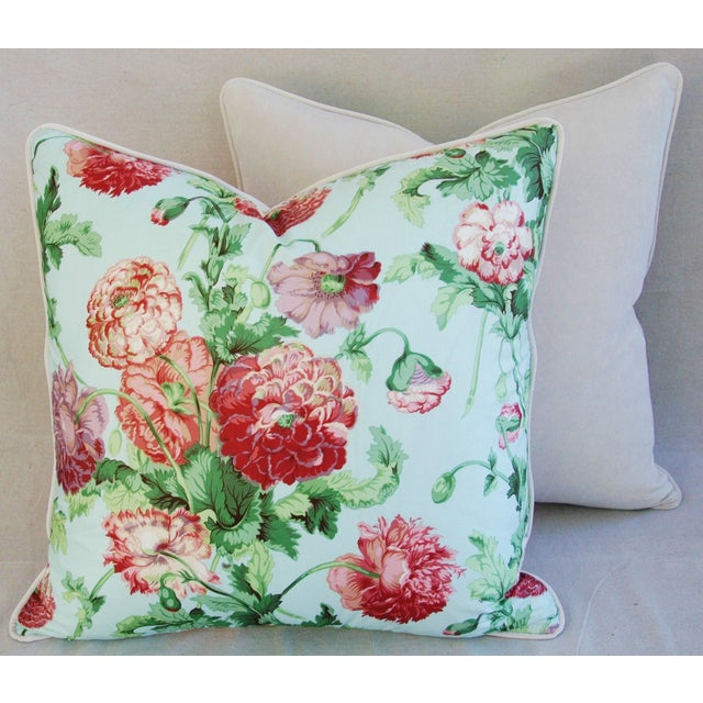 """Blue Designer Brunschwig & Fils Poppies Feather/Down Pillows 22"""" Square - Pair For Sale - Image 8 of 10"""