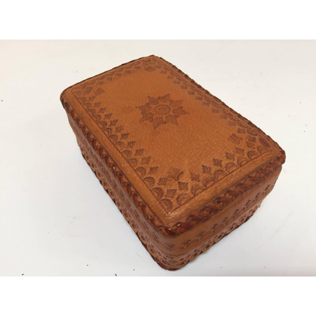 Brown Leather Vintage Brown Box Hand Tooled in Morocco With Tribal African Designs For Sale - Image 8 of 13