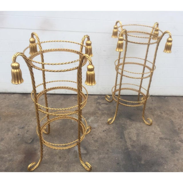 Hollywood Regency Hollywood Regency Style Gilt Metal Stands - A Pair For Sale - Image 3 of 5