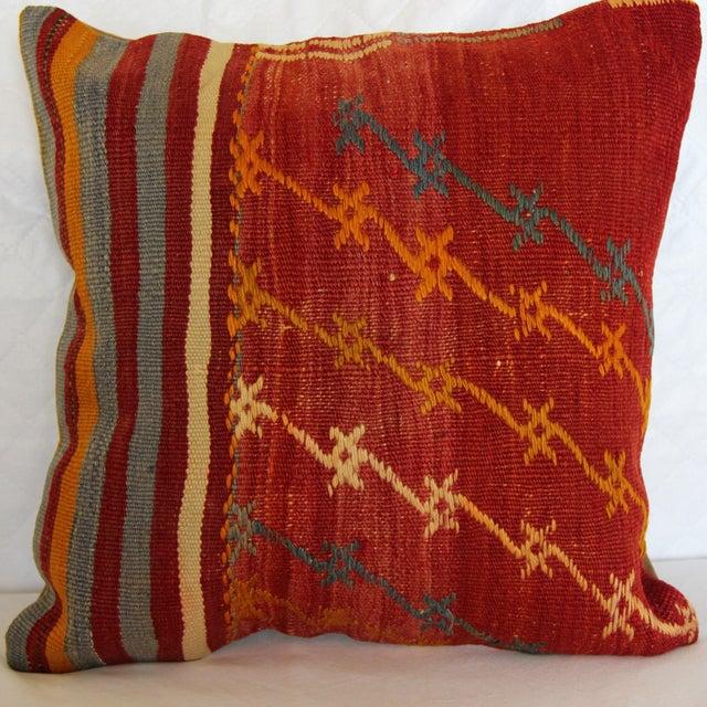 kilim pillow decorative handmade pillow cover turkish vintage 16 x 16 chairish. Black Bedroom Furniture Sets. Home Design Ideas