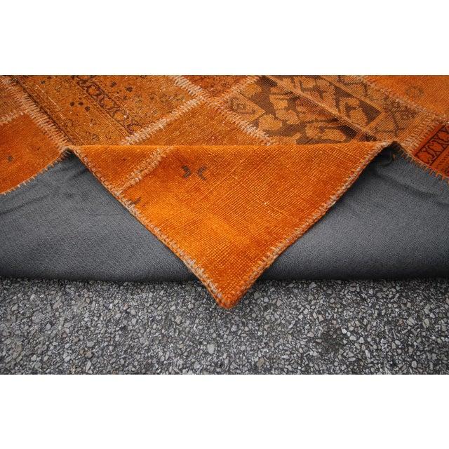 Vintage Turkish Overdyed Orange Patchwork Rug - 5′8″ × 7′11″ - Image 6 of 6