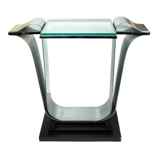 Mid-Century Glass and Metal Console Table on Wooden Base For Sale