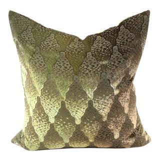 Kevin O' Brien Green Diamond Patterned Silk Pillow