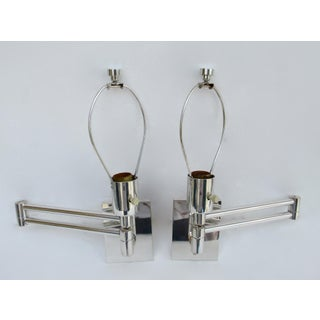 Vintage C.1970s Georg W. Hanson for Hanson Lighting Co.Signed Chrome Plated Swing-Arm Wall Sconces - a Pair Preview