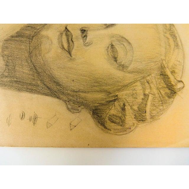 Art Deco Vintage Modern Female Head Portrait Drawing For Sale - Image 3 of 7