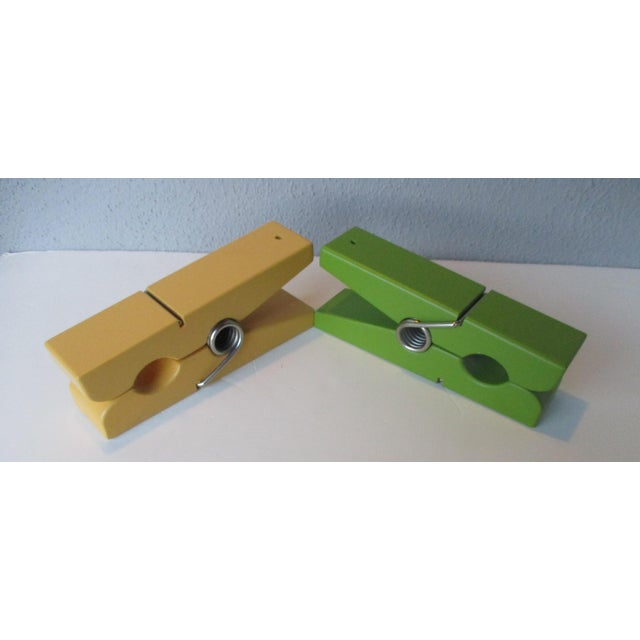 Pop Art Chartreuse & Yellow Clothespin Paperclips - a Pair For Sale - Image 5 of 9