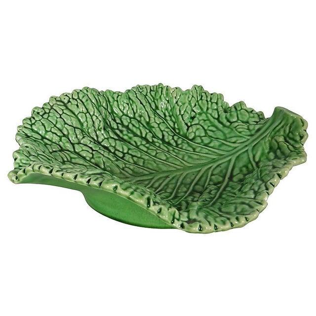 Large majolica cabbage leaf platter, circa 1930. Signed Sarreguemines.