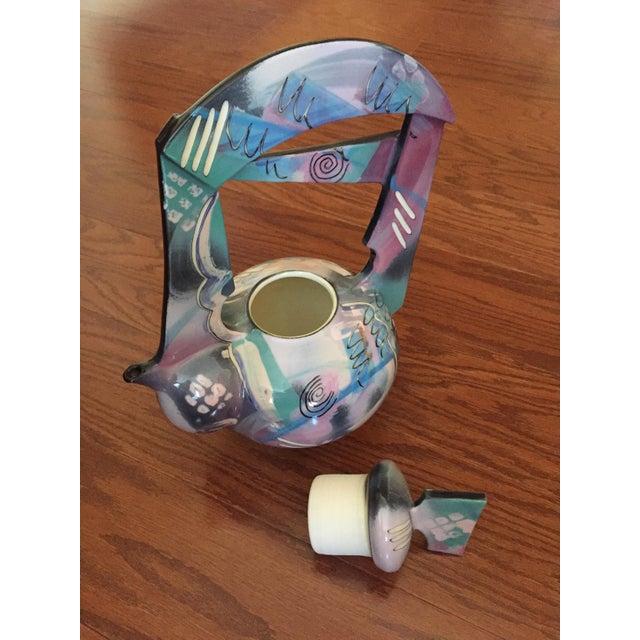 Turquoise Tom Hubert Handmade Porcelain Teapot - Master Ceramist Professor Fine Arts For Sale - Image 8 of 11