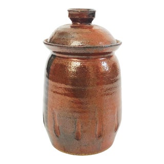 Vintage Handmade Stoneware Pottery Container For Sale