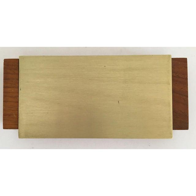 Mid-Century Modern Gold Aluminum and Wood Box - Image 8 of 11