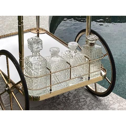 Mid Century French Hollywood Regency Brass Bar Cart W/ Mirrored Trays For Sale In Phoenix - Image 6 of 12