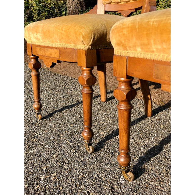 Late 19th Century Victorian Eastlake Carved Wood Original Velvet Chairs - a Pair For Sale In Seattle - Image 6 of 13