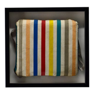 1950s Framed Vintage Boat Striped Cushion, Framed For Sale