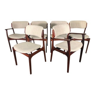 Set of 6 Rosewood Mid Century Danish Dining Chairs by Erik Buch Buck For Sale
