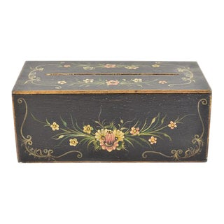 Tole Painted Wood Tissue Box
