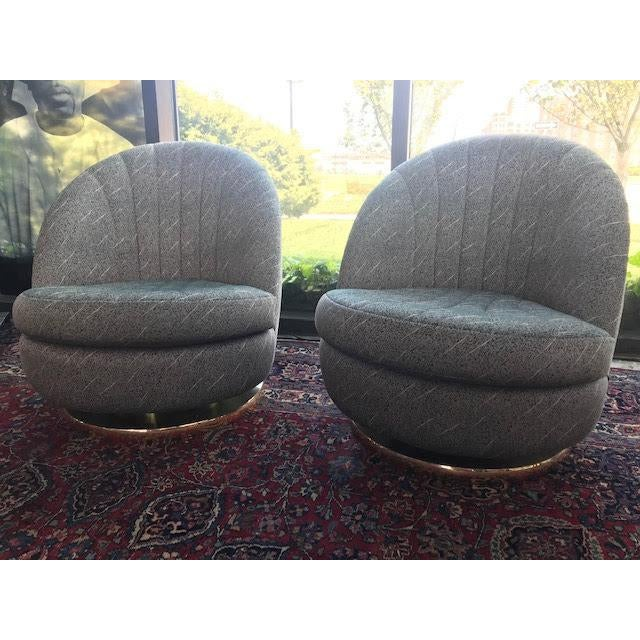 Swivel Club Chairs by Milo Baughman for Thayer Coggin - a Pair For Sale - Image 12 of 13