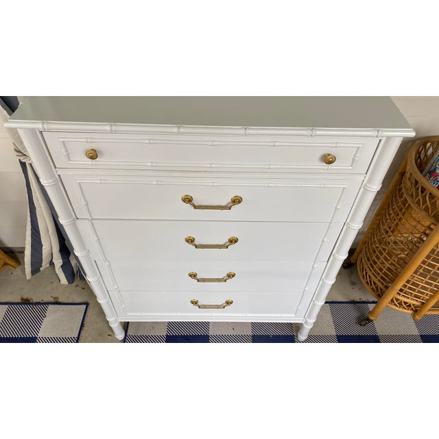 White 1960s Vintage Thomasville Faux Bamboo Highboy For Sale - Image 8 of 12
