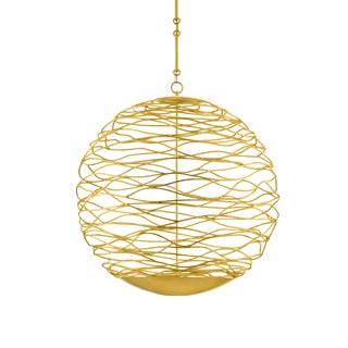 Currey & Co. Modern Gold Metal Early 20th Century Chaumont Orb Chandelier For Sale