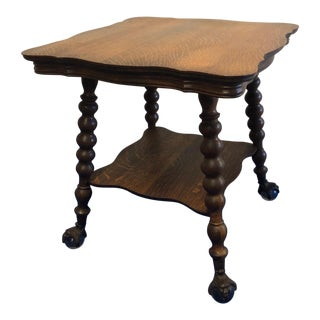 20th Century Traditional Claw-Foot Tiger Maple Tea Side Table For Sale
