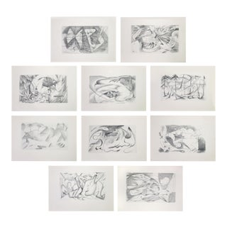 """1920 Franz Marc 2nd Edition """"Sketches From the Field"""" Cubist Abstract Prints - Set of 10 For Sale"""
