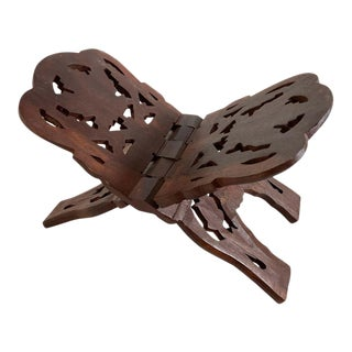 Folding Hand Carved Moroccan Wood Book Holder Display For Sale