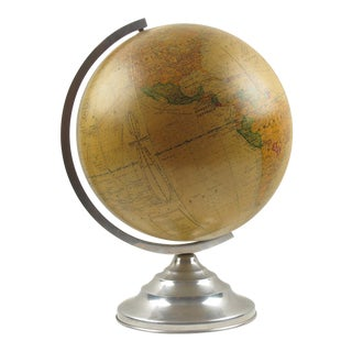 French Barrere and Thomas Terrestrial Glass Globe and Lamp on Aluminum Stand For Sale