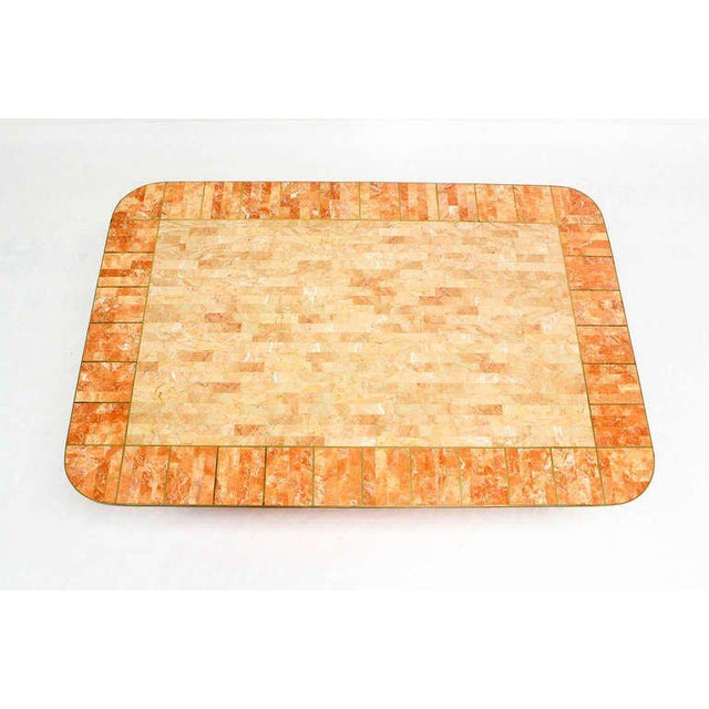 Maitland Smith Tessellated Stone Brass Mid Century Modern Rectangle Coffee Table For Sale - Image 10 of 10