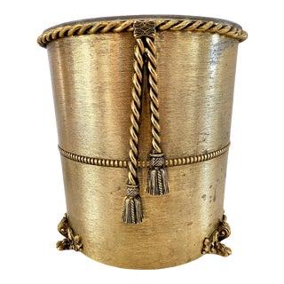 Vintage Italian Gilt Metal Waste Basket For Sale