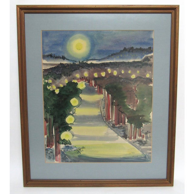 An original watercolor painting of a magical landscape with numerous, mysterious balls of light interspersed in the...