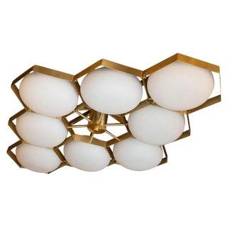 "Modernist Brass Handblown Murano Glass 8 Arm ""Honeycomb"" Flush Mount Chandelier For Sale"