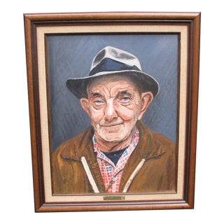 "1970s Figurative Portrait of Older Man in Hat Titled ""Windy Jost"" Signed T. Henry For Sale"