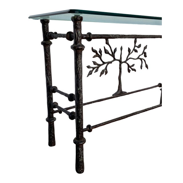 1970s 1970s Giacometti Style Welded Metal & Glass Console Table For Sale - Image 5 of 8