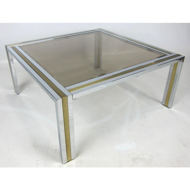 Chrome and Brass Coffee Table attributed to Romeo Rega For Sale - Image 4 of 5
