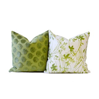 Designer Green Down Pillow For Sale